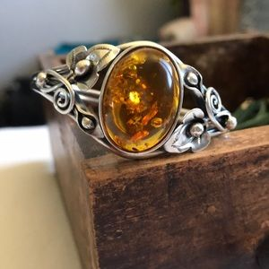 Genuine Amber and 925 Silver Bracelet
